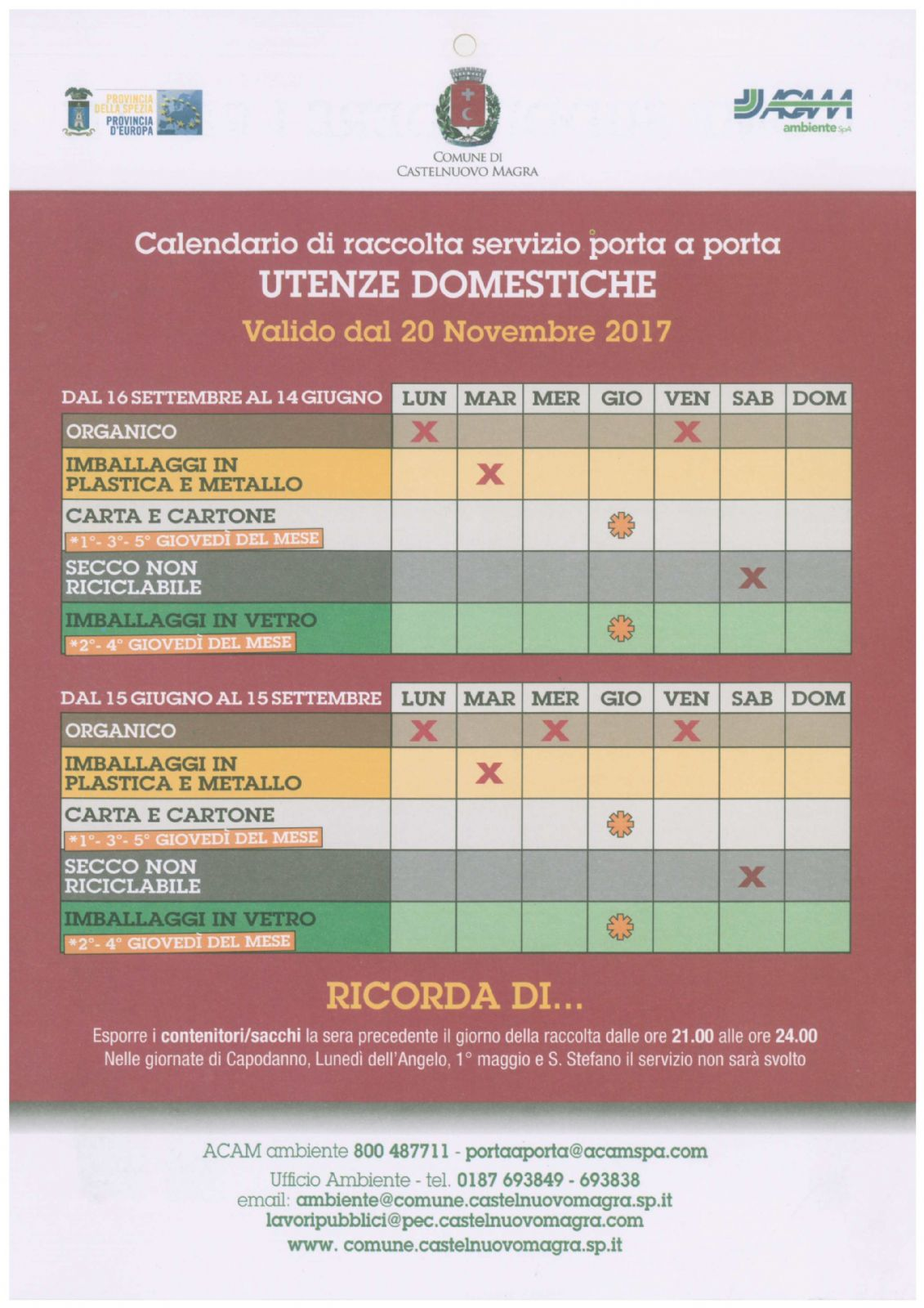 Nuovo Calendario.Nuovo Calendario Raccolta Differenziata Utenze Domestiche